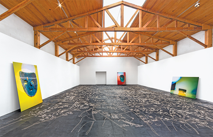 "View of ""Mariana Castillo Deball,"" 2014. Floor: Vista de ojos, 2014. Walls: All works Untitled, 2014."