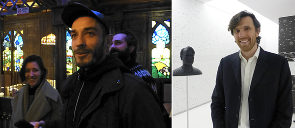 Left: FGAP shortlisted artists Rossella Biscotti and Carlos Motta with writer Adam Kleinman. Right: PinchukArtCentre deputy artistic director Björn Geldhof. (Except where noted, all photos: Kate Sutton)
