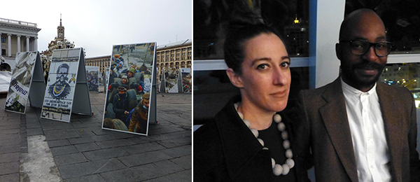 Left: Photo displays on Maidan Square. Right: FGAP shortlisted artists Allyson Vieira and Kudzanai Chiurai.