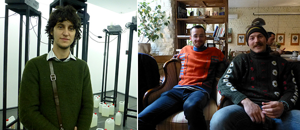 Left: FGAP shortlisted artist Adrian Melis. Right: Artists Antony Ward and Nikita Kravstov at Na Stanislavskogo.