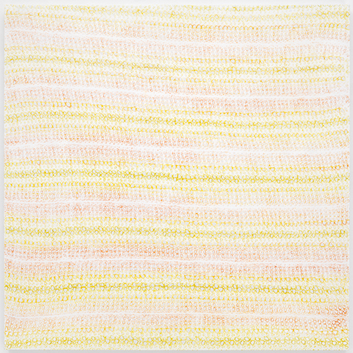 "Michelle Grabner, Untitled, 2014, enamel on panel, 60 x 60 x 1 1/2""."