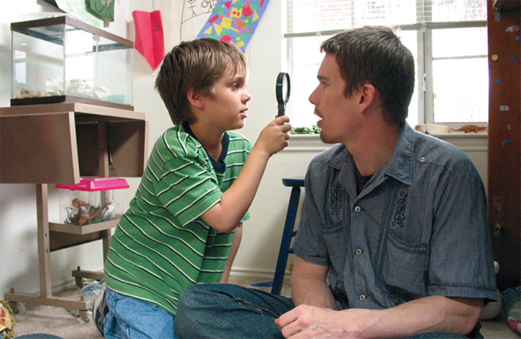 Richard Linklater, Boyhood, 2014, 35 mm, color, sound, 160 minutes. Mason (Ellar Coltrane) and Mason Sr. (Ethan Hawke).