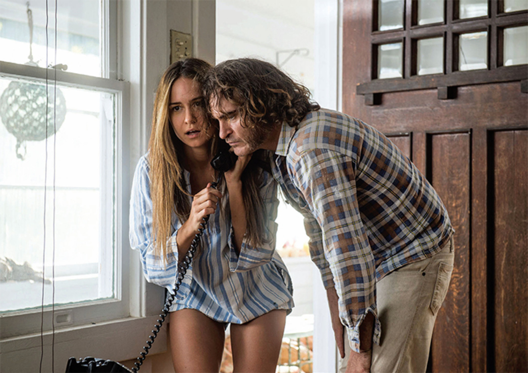 "Paul Thomas Anderson, Inherent Vice, 2014, 35 mm, color, sound, 148 minutes. Shasta Fay Hempworth (Katherine Waterston) and Larry ""Doc"" Sportello (Joaquin Phoenix)."