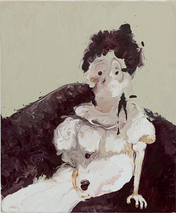 "Genieve Figgis, Self-Portrait as Evelyn Nesbit, 2014, acrylic on canvas, 11 3/4 × 9 3/4""."