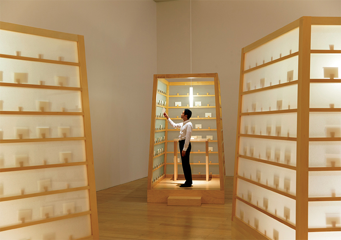 Lee Mingwei, The Letter Writing Project, 1998/2014, wooden booths, writing paper, envelopes. Installation view, Mori Art Museum, Tokyo, 2014. Photo: Yoshitsugu Fuminari.