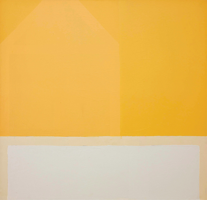 "James Bishop, Avant le jour (Before the Day), 1986, oil on canvas, 66 1/2 × 67 3/4""."