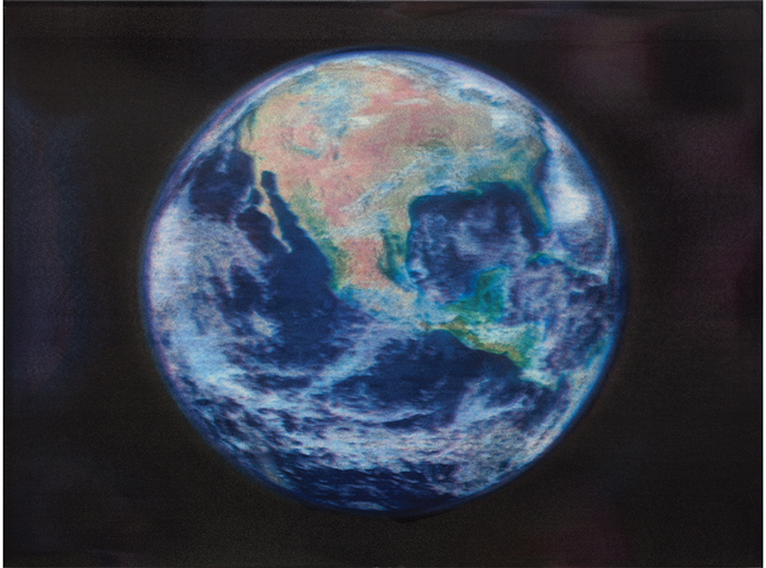 "Gabriel Orozco, Satellite View of North America, 2014, oil-jet painting, 15 × 9 × 4 1/2""."