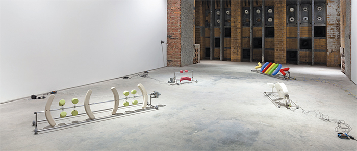 "View of ""Puddle, pothole, portal,"" 2014–15. Floor, from left: Antoine Catala, (::( )::), 2014; Antoine Catala, :), 2014; Antoine Catala, >(///)<, 2014; Antoine Catala, </3, 2014. Wall: Win McCarthy, Long Drain, 2014."