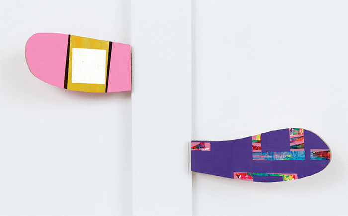 "View of ""Chuck Nanney,"" 2014. From left: mobile pink flipper cloud lingum, 2014; mobile purple flipper cloud lingum, 2014."