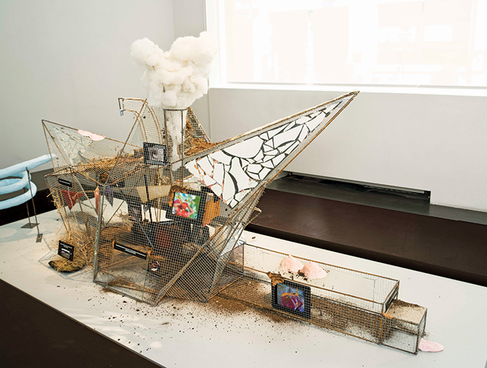 "Laure Prouvost, Maquette for Grand Dad's Visitor Center, 2014, mirrors, wood, metal, wire, soil, foam, plaster, glass, taxidermied fox, video screens, 57 1/8 × 114 1/8 × 43 1/4""."