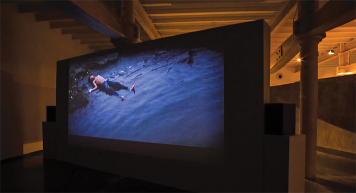 Desire Machine Collective, Noise Life 1, 2008–14, partition, HD video (color, sound, 32 minutes 6 seconds). Installation view, Project 88.