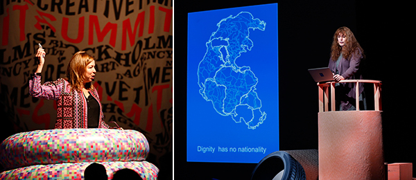 Left: Creative Time artistic director Anne Pasternak. Right: Artist Tania Bruguera. (Photos: Amy Helene Johansson)