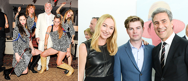 Left: Glenn O'Brien and friends at his TV Party. (Photo: Neil Rasmus/BFAnyc.com) Right: Frida Giannini, artist Kris Knight, and LACMA director Michael Govan. (Photo: Joe Schildhorn/BFAnyc.com)