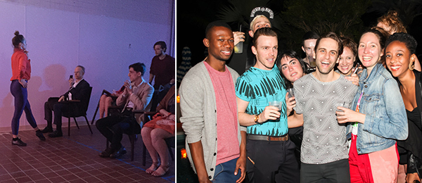 Left: Serpentine codirector Hans Ulrich Obrist watches Alexandra Albrecht perform in Ryan McNamara's MEƎM 4 Miami: A Story Ballet About the Internet. Right: Dancers/choreographers Waldean Nelson, Jos McKain, Joshua Weidenmiller, Jen Rosenblit, Mickey Mahar; artist Ryan McNamara; and dancer-choreographers Kyli Kleven, Kim Brandt, and Fana Fraser at the Interview, Dsquared2, Performa, and Maserati party. (Photo: Sam Deitch/BFAnyc.com)