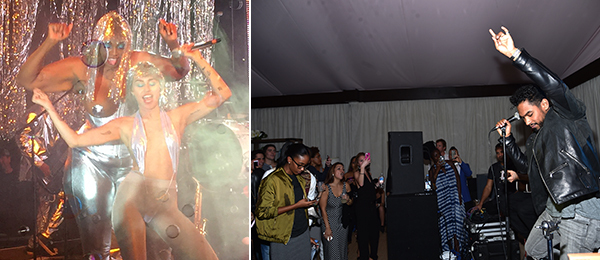Left: Miley Cyrus at the Raleigh. Right: Miguel performs at the 5th Annual Bombay Sapphire Artisan Series at the Soho Beach House. (Photo: Mike Coppola/Getty Images)