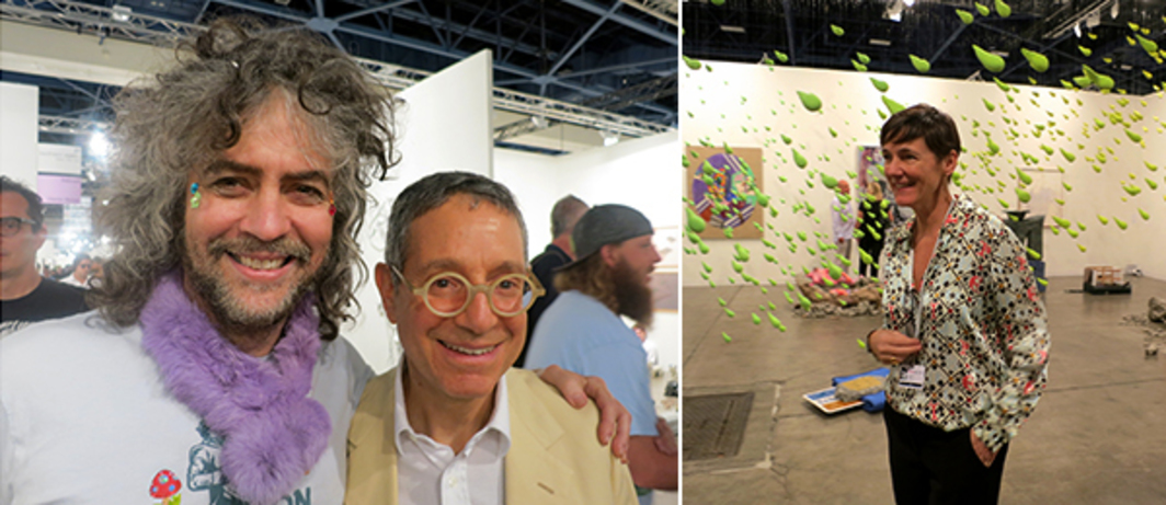 Left: Musician Wayne Coyne with dealer Jeffrey Deitch. Right: Dealer Sadie Coles. (Except where noted, all photos: Linda Yablonsky)