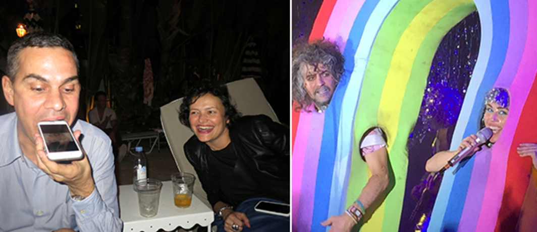 Left: New Museum deputy director and chief curator Massimiliano Gioni and Highline Art curator Cecilia Alemani. Right: Wayne Coyne and Miley Cyrus. (Photo: David Velasco)