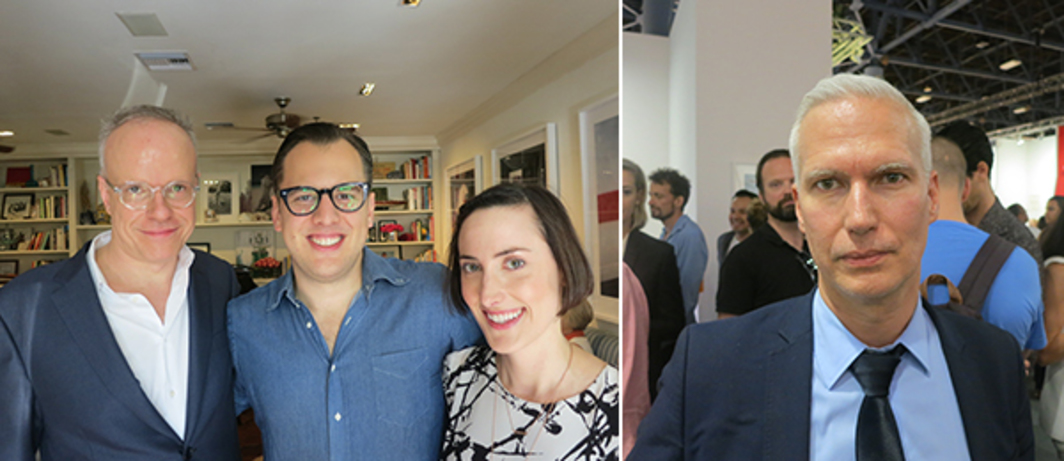 Left: Serpentine Gallery codirector Hans Ulrich Obrist, Instagram cofounder Mike Krieger, and Lovestagram creator Kaitlyn Trigger. Right: MoMA PS1 director Klaus Biesenbach.