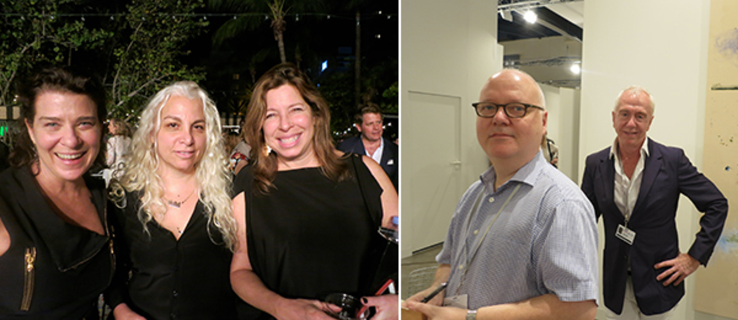 Left: Collector Melissa Soros with dealer Andrea Rosen and Creative Time director Anne Pasternak. Right: Dealers Michael Jenkins and Brent Sikkema.