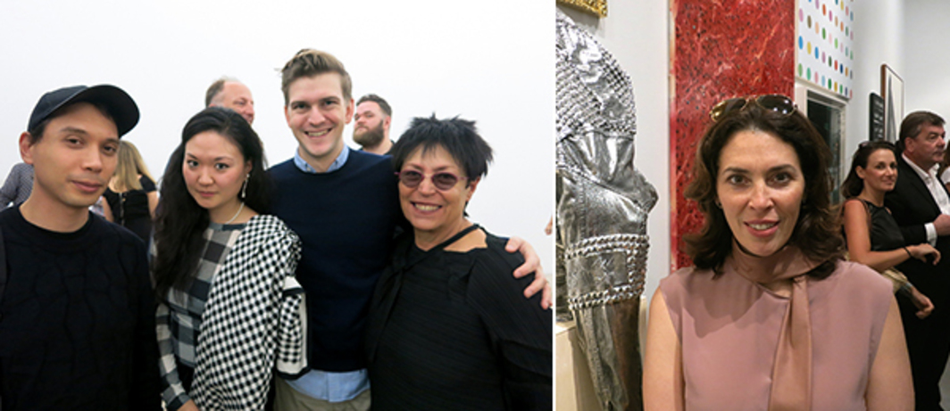 Left: Artists Josh Kline and Margaret Lee with dealer Oliver Newton and collector Mera Rubell. Right: Art consultant Amy Cappellazzo.