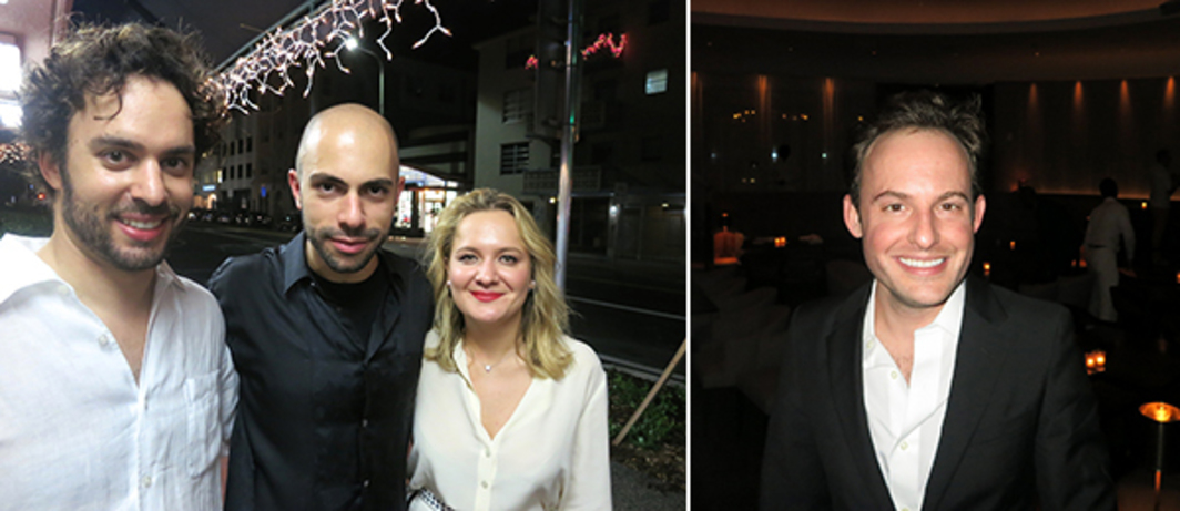 Left: Dealers Pedro Mendes and Felipe Dmab with collector Maria Bukhtoyarova. Right: Whitney Museum curator Scott Rothkopf.