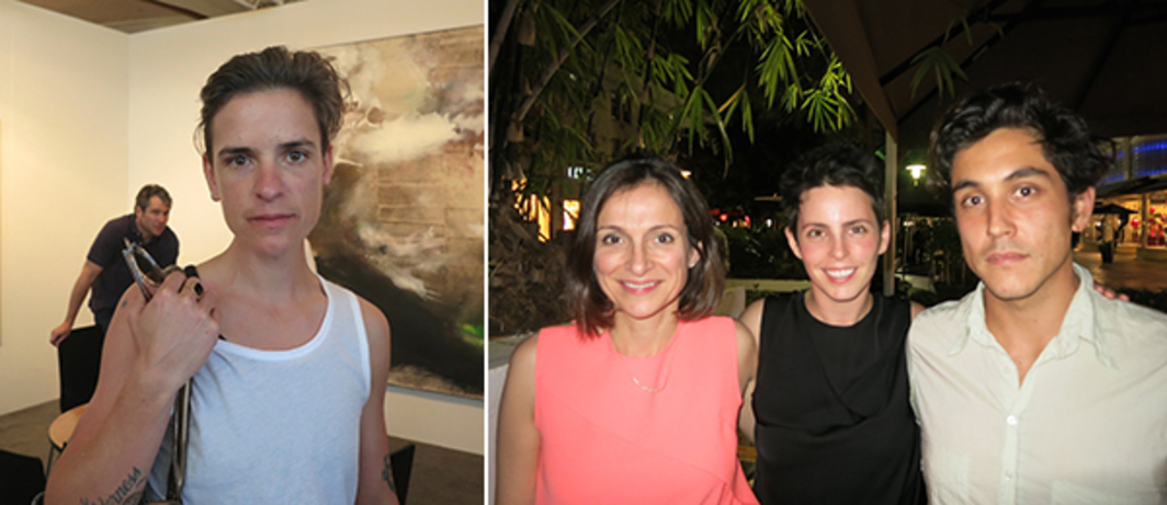 Left: Dealer Sophie Mörner. Right: Author Sarah Thornton with dealer Jessica Silverman and artist Dashiell Manley.