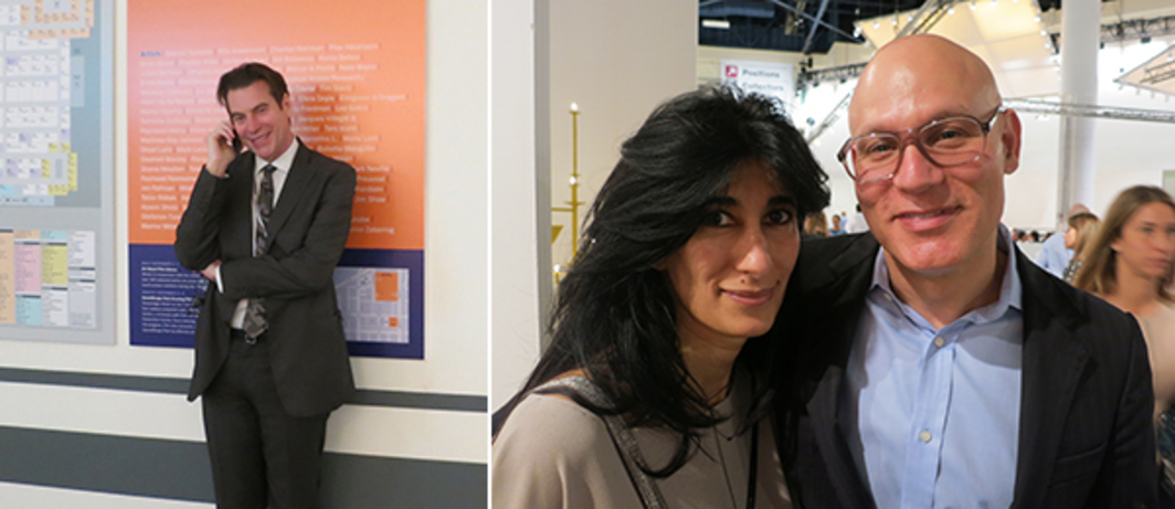 Left: Dealer David Maupin. Right: Curator Abaseh Mirvali and collector Craig Robins.