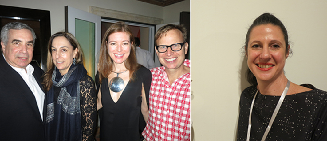 Left: Collectors Phil Aarons and Shelley Fox Aarons with Rose Dergan and artist Will Cotton. Right: Dealer Simone Subal.