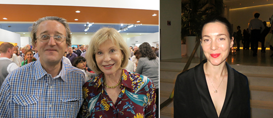 Left: Bard CCA director Tom Eccles and collector Marieluise Hessel. Right: Frieze Art Fair director Victoria Siddell.