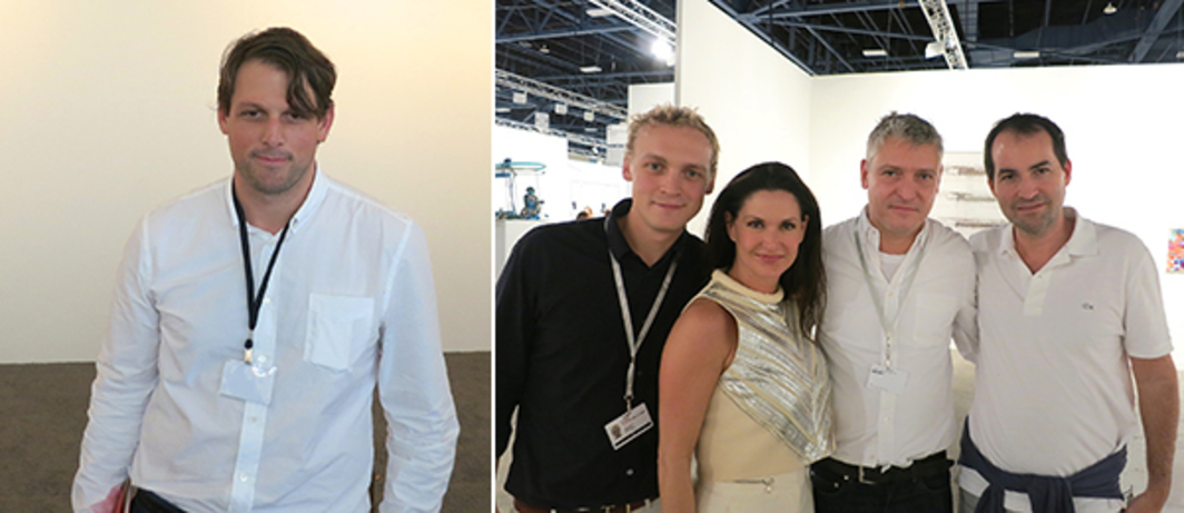 Left: Dealer-publisher Brendan Dugan. Right: Dealer Peter Currie with collector Jemila Afshar, dealer Daniel Buchholz and collector Sascha Bauer.