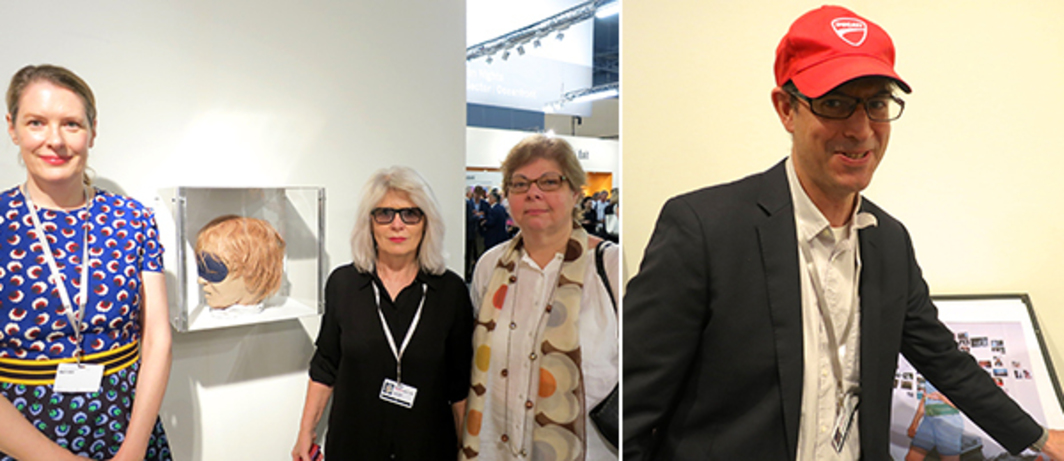 Left: Dealers Philomene Magers and Monika Sprueth with Whitney Museum chief curator Donna De Salvo. Right: Artist-dealer John Kelsey.
