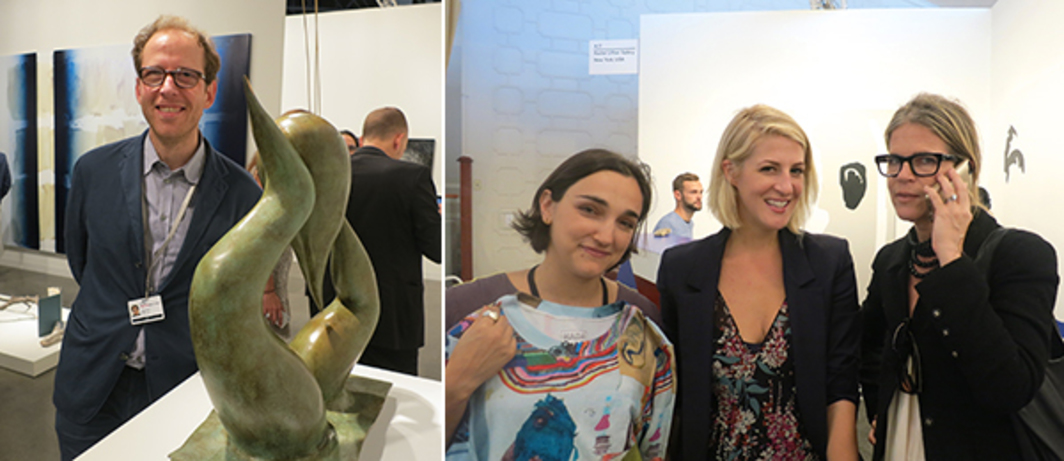 Left: Dealer Johann Koenig. Right: Dealer Rachel Uffner with Art Production Fund director Casey Fremont and APF cofounder Yvonne Force Villareal.