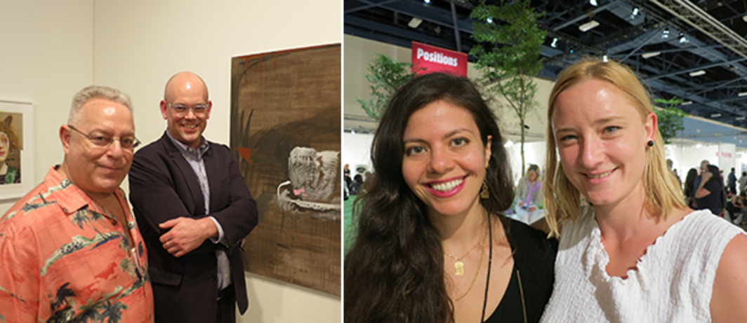 Left: Warhol Foundation president Joel Wachs and LA MoCA curator Bennett Simpson. Right: SculptureCenter curator Ruba Katrib with artist Lucie Stahl.