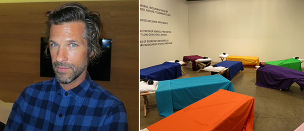 "Left: Artist Aaron Young. Right: Marina Abramovic's ""#ArtBaselNaps"" at the Beyeler Foundation booth."