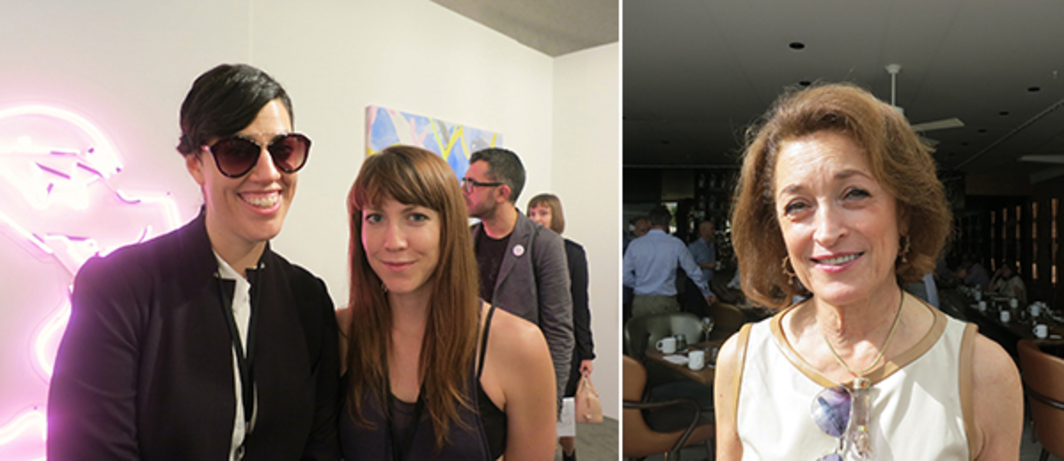 Left: Dealers Davida Nemeroff and Mieke Marple. Right: Art adviser Diane Ackerman.