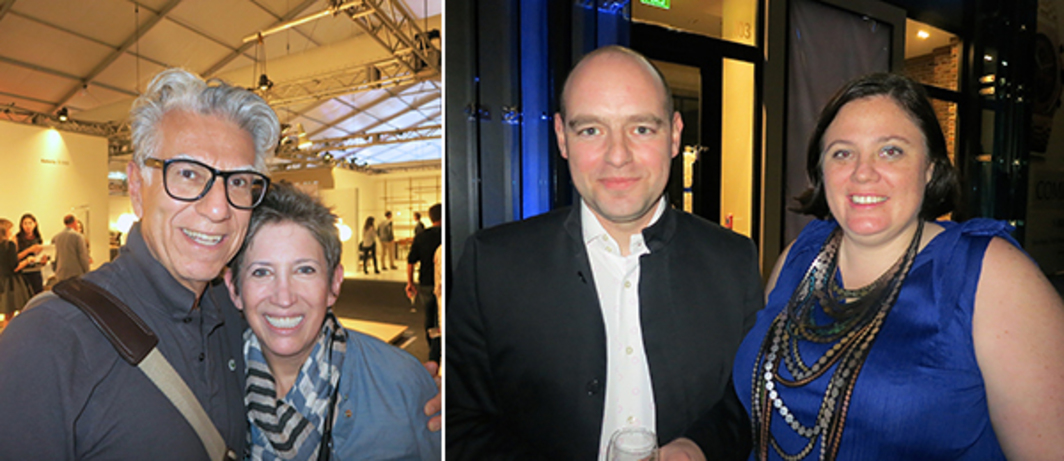 Left: Photographer Firooz Zahedi with collector Beth Rudin DeWoody. Right: Architects Florian Baier and Nina Bischofberger.