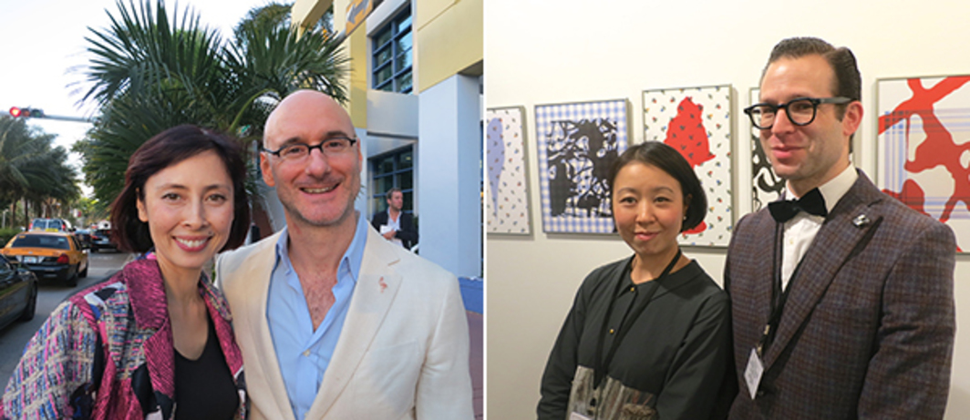 Left: Hirshhorn Museum director Melissa Chu with Artnet editor Benjamin Gennochio. Right: Dealers Misako and Jeffrey Rosen.