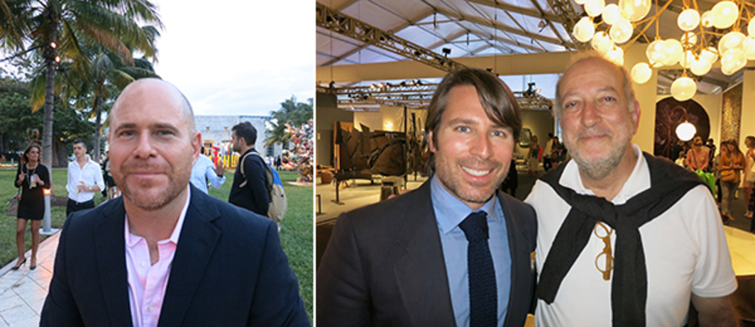 Left: Art Basel director Marc Spiegler. Right: Design Miami director Rodman Primack and architect Enrique Norten.