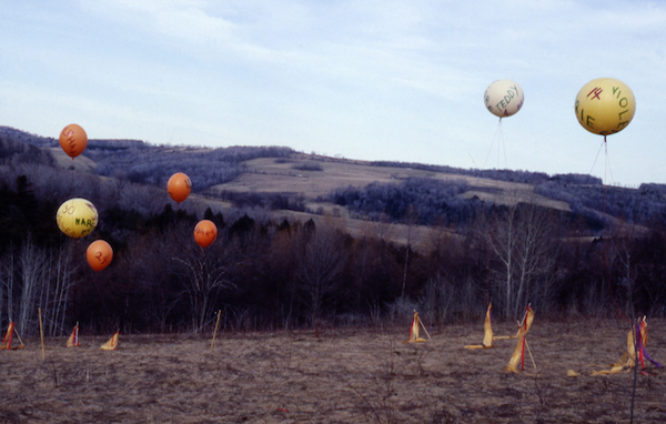 Rosemary Mayer, Some Days in April, 1978, advertising balloons, inks, helium, fabrics, dimensions variable. Installation view, Hartwick, New York.