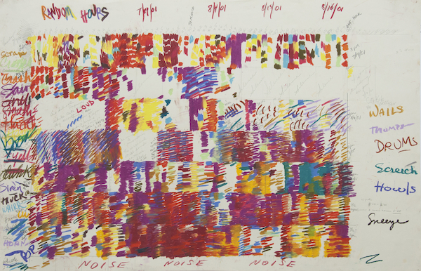 "Rosemary Mayer, Noise Drawings, 2011, pastel on paper, 26 x 40""."