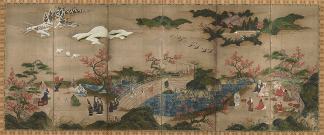 "Kano Hideyori, Maple Leaf Viewing at Mount Takao, ca. mid-sixteenth century, pigment on paper, 4' 11 1/8"" × 11' 11 7/8"". Photo: TNM Image Archives."