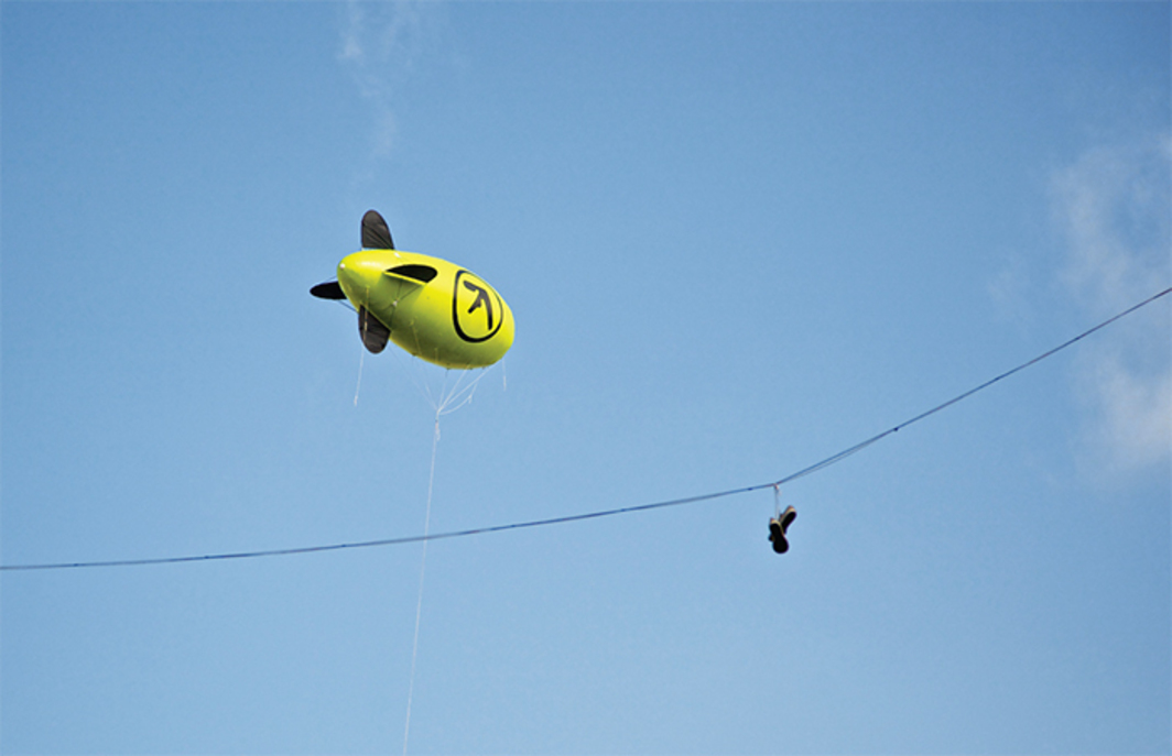 Blimp with Aphex Twin's logo, London, September 21, 2014. Photo: Aurelien Guichard/Flickr.