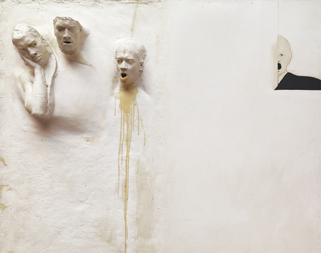 David Lynch, Six Men Getting Sick (detail), 1967, fiberglass, resin, acrylic, and graphite on Masonite panel, 16-mm projection (color, sound, 60 seconds).