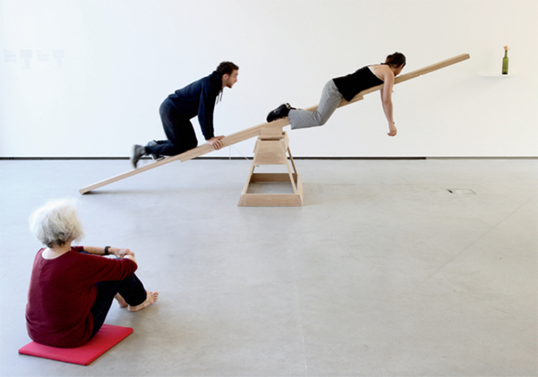 Simone Forti, See-Saw, 1960. Performance view, Museum der Moderne Salzburg, Austria, July 23, 2014. From left: Simone Forti, Hugo Le Brigand, and Filipa Bavčević. Photo: Rainer Iglar.
