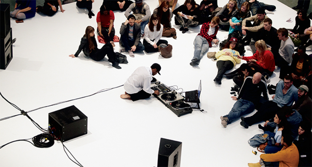 Kevin Beasley, I Want My Spot Back, 2012. Performance view, Museum of Modern Art, New York, October 26, 2012. Photo: Julieta Cervantes.
