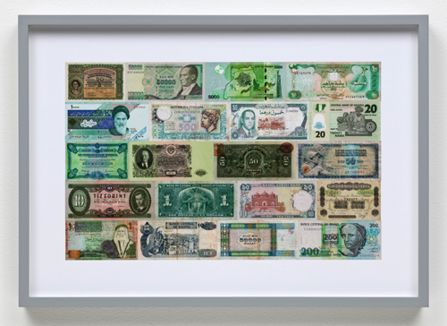 "William E. Jones, Color Coordinated Currency (detail), 2012, seven hand-coated pigment prints, each 9.75 x 15.5""."
