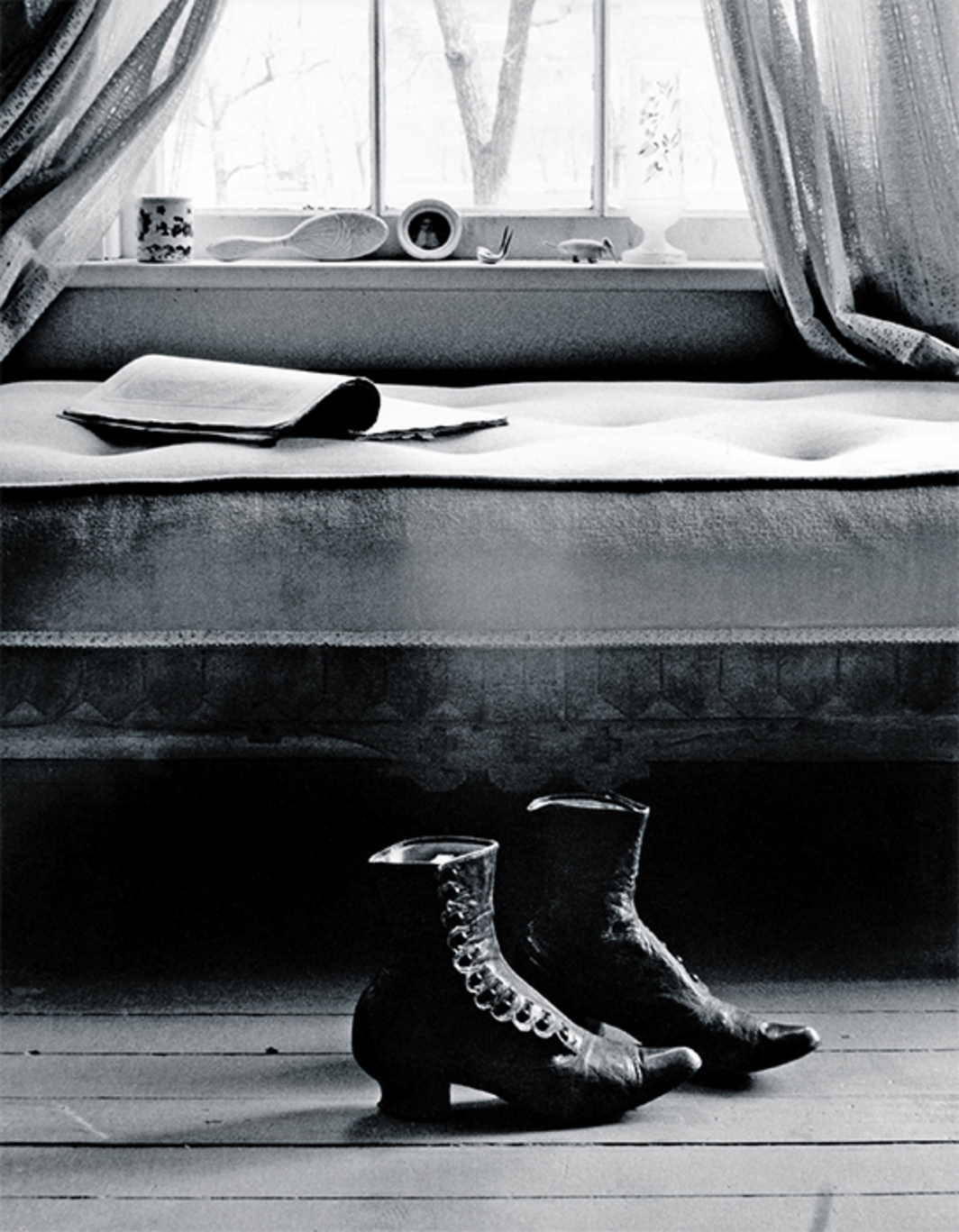 "Gordon Parks, Shoes, Fort Scott, Kansas, 1950, gelatin silver print, 14 × 11"". © The Gordon Parks Foundation."