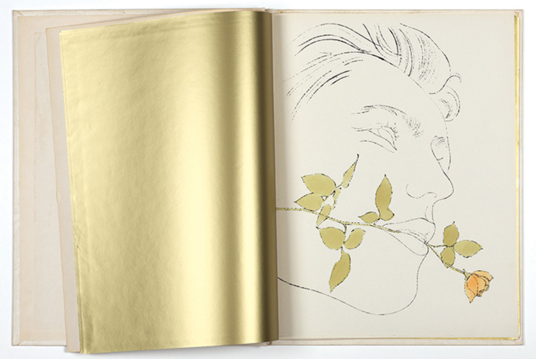 "Spread from Andy Warhol's A Gold Book, 1957, offset lithographic prints and hand coloring on paper, 14 1/2 × 23"". © Andy Warhol Foundation for the Visual Arts/Artists Rights Society (ARS), New York. The Andy Warhol Foundation for the Visual Arts, Inc."