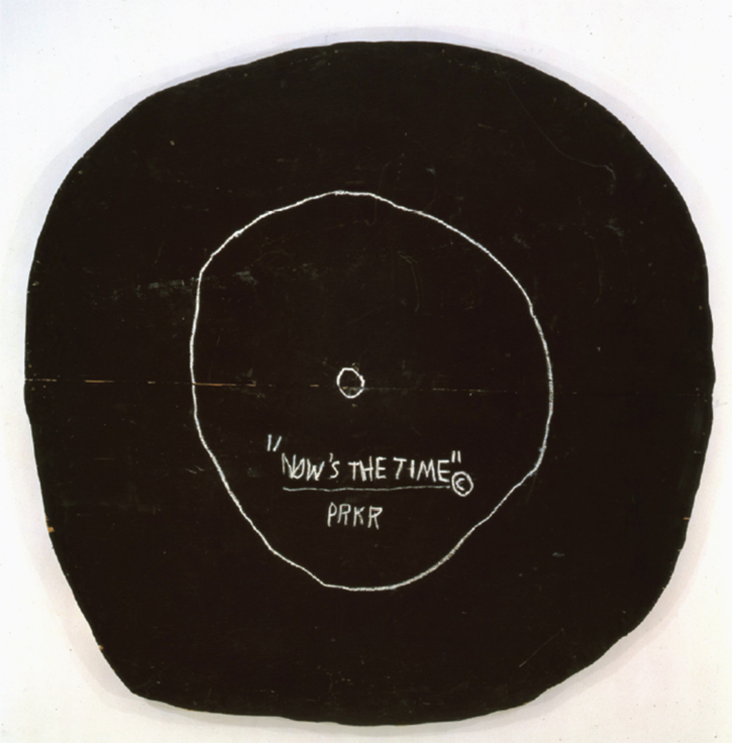 "Jean-Michel Basquiat, Now's the Time, 1985, acrylic and oil stick on plywood, 92 1/2 × 92 1/2"". © Artists Rights Society (ARS), New York/ADAGP, Paris, Estate of Jean-Michel Basquiat."