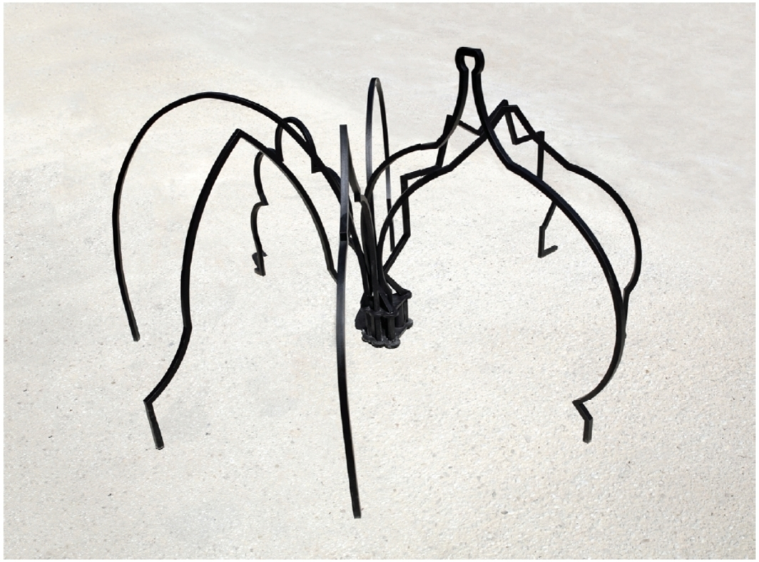 "Zoulikha Bouabdellah, L'Araignée (The Spider), 2013, painted steel, 37 3/8 × 54 × 60 5/8"". From ""Body Talk: Feminism, Sexuality and the Body in the Work of Six African Women Artists."""